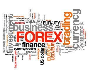 Forex - foreign exchange currency trading word cloud illustration. Tag cloud keyword concept.